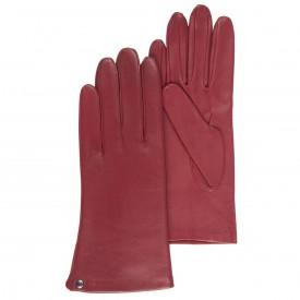 gants-cuir-femme-isotoner-rouge-cuir agneau doublé soie